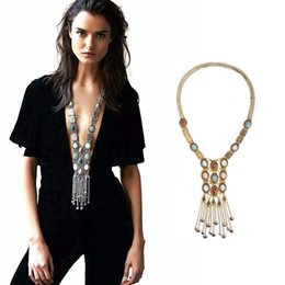 Wholesale Gold Choker Tassel - Fashion Bohemian Turquoise Bead Chain Chokers Silver Gold Plated Chunky Big Statement Long Tassel necklaces Gifts Jewelry