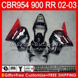 Cbr954rr impermeabile rosso nero online-Corpo per HONDA CBR 954RR CBR900RR CBR954RR 2002 2003 66NO44 Nuovo rosso nero CBR 900RR CBR954 RR CBR900 RR CBR 954 RR 02 03 Kit carena 8Gift