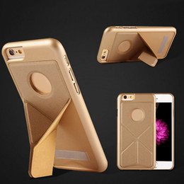 Wholesale Iphone Folding Cases - Foldable Deformation Case For iphone 6s iphone 7 case Bracket Holder Magnetic Folding Back Cover Case For galaxy s7 edge with OPP Package