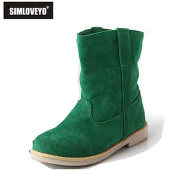 Wholesale Cute Low Boots Women - Wholesale-New Factory Fashion Sweet Low square heel Half knee boot Cute Korea style Autumn boots Solid Red Brown Yellow Green Dropshipping