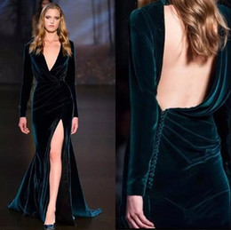 Wholesale Elie Saab Prom Dresses New - Hunter Green Velvet Long Prom Dresses 2018 New Deep V Neck Long Sleeves Sexy High Slit Elie Saab Formal Evening Celebrity Prom Gowns