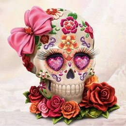 Wholesale Wall Decorations Flowers - Skull Flower Full Drill DIY Mosaic Needlework Diamond Painting Embroidery Cross Stitch Craft Kit Wall Home Hanging Decor