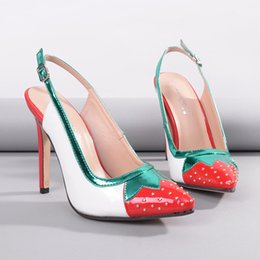 Wholesale Shoes Strawberry - Koovan Fashion Brand Pumps 2017 New Summer Pointed Toes Colorful Strawberry Stiletto 11 Cm High Heel Women Shoes Sweety Lovely Ladies Shoes