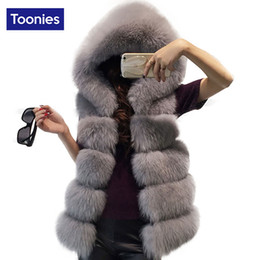 Wholesale Imitation Fur Coats - Women Thickened Vest Imitation Mink Hair Fox Fur Coat Female Waistcoat Straight Elegant Warm Outwear Clothing With Long Fur Cap