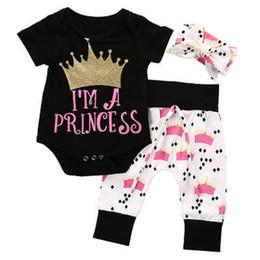 Wholesale infant girls leggings - 2017 INS Summer Newborn Infant Baby Girl Crown Clothing Set Cotton Short Sleeve Romper +Pants Leggings +Head band 3PCS outfits