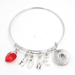 Wholesale Crystal Home Button - New Arrival Interchangeable Red Crystal Heart Letter I Love Home Charms Wire Expandable Snaps Button Bangles Bracelets for Snap Jewelry