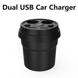 Wholesale Light Car For Cigarettes - 2 Ports USB Car Cup Charger 5V 3.4A Dual Cigarette Lighter Sockets Cell Phone Auto Adapter Charger LED Light Display For iPhone Samsung