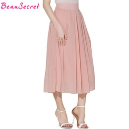 Wholesale Pink Maxi Chiffon Skirt - 2017 summer chiffon long skirt women pleated tutu skirts womens maxi skirt saia longa white black pink blue gray faldas
