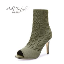 Wholesale Ladies Shoes Short Heel - Arden Furtado Women Shoes Sexy 2017 Summer Short ankle Boots Ladies Fashion High Heels Woman stretch boots thin heels fish mouth Martin boot