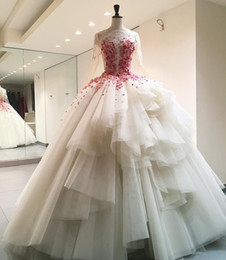 Wholesale wedding dresses rose skirt - 2017 Elegant Illusion Bodice Ball Gowns Wedding Dresses Full Long Sleeves Floor Length Sweep Train With Rose Petal Princess Bridal Gowns
