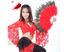 Trajes de dança pavão on-line-Pavão elegante Mão Fan Dance Dance Adereços Fancy Dress Wedding Costume Dança Dobrável Fan Halloween Fantasma Fontes Do Partido 13 cor