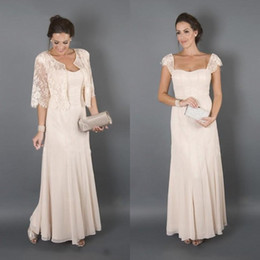 Wholesale Lace Jackets For Wedding Dresses - Elegant Mother Dresses for Beach Wedding Long Cap Sleeves Plus Size Wedding Guest Dresses Mother of the Groom Dresses with Lace Jacket