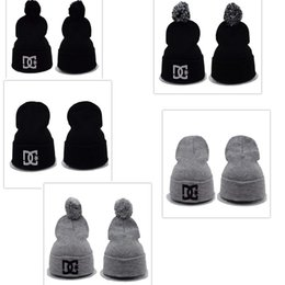 Wholesale Skull Beanie Knitting Pattern - 2016 NEWEST superman Beanie Hat DG Skull Caps Wool Hat Knit Pattern Fashion HIP HOP Cap Man Woman Black Grey HIPHOP CAP wholesale
