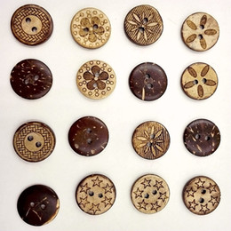 Wholesale Wooden Buttons Wholesale - Wooden Buttons 18mm Coconut 2 holes for handmade Gift Box Scrapbook Craft Party Decoration DIY favor Sewing Accessories
