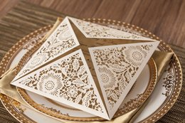 Wholesale Paper Folding House - Design Rustic Gold beige Wedding Supplies Laser Cut Invitation Cards With Insert Paper Blank Wedding Invitations Cards With Free Shipping