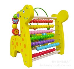 Wholesale Wooden Toys Bead Maze - Wholesale- Free Shipping! Baby Toys 2 in 1 Animal Abucase and Beads Maze Wooden Toy Child Early Learning Math Toys gift