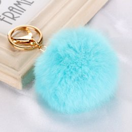 Wholesale Earring Bags - 2017 Real Rabbit Fur Ball Keychain Soft Fur Ball Lovely Gold Metal Key Chains Ball Pom Poms Plush Keychain Bag Earrings Accessories