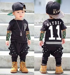 Wholesale Long Sleeve Tattoo T Shirts - 2017 Boy Clothes T-shirt Long Sleeve Children T-Shirts Novelty Tattoo Baby Girl Tops Spring&autumn Kids Clothing