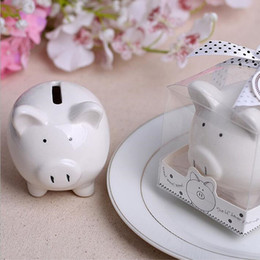 Wholesale Polka Dot Favor Box - Pig Storage Tanks 200pcs lot Ceramic Piggy Bank in Gift Box with Polka-Dot Bow wedding favors and gifts, baby shower giveaways