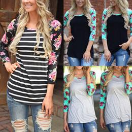 Wholesale Ladies Striped Tees - Autumn Women Ladies Floral Striped T-shirt Casual Slim 3 4 Sleeve Shirt Tops Crew Neck Tee Shirt S-3XL