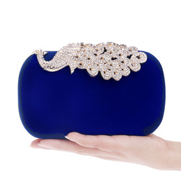 Wholesale clutches for wedding - Wholesale- Luxurious Candy Color Velvet Women Evening Bags Rhinestones Peacock Metal Evening Bags Day Clutches Purse For Wedding Party Bag
