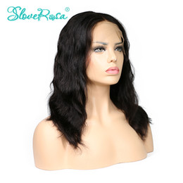 Wholesale Middle Part Lace Remy Wig - Slove Rosa Glueless Short Bob Wigs Middle Part Brazilian Human Remy Lace Front Natural Straight Wave Wigs Combs And Adjust Belt