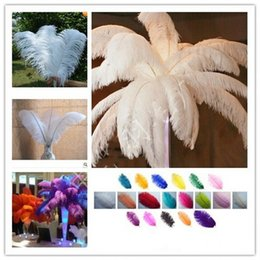 Wholesale Ostrich Feather Centerpiece Pink - Wholesale 10Pcs per lot 8-28inch Natural White Ostrich Feathers Plume Centerpiece for Wedding Party Table Decoration