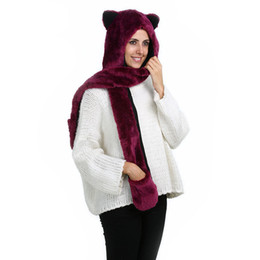 Wholesale Hooded Scarf Cute - 3 In 1 Wine Red Color Neck Warmer Cute Hats With Ears Cartoon Animal Plush Warm Cap Hooded Gloves pocket earflap long scarves Snood Wraps
