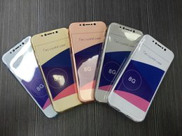 Wholesale Mobile Phone Covers Crystals - Front+Back 2pc Full Body Crystal Case Protective Cover Case Soft TPU Mobile phone Cover Shockproof For iPhone 8