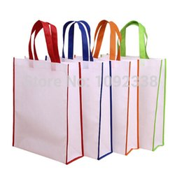 Wholesale Promotional Shopping Bags Logo - Wholesale- Wholesale 500pcs lot reusable non woven shopping bags promotional bag 6 sizes,4 colors print your own logo Free Shipping By TNT