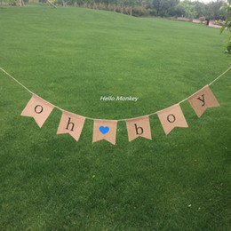 Wholesale Burlap Baby - Wholesale-1set cute baby girl   baby boy Banners Burlap Banner garland baby shower party decoration birthday party supplies home decor