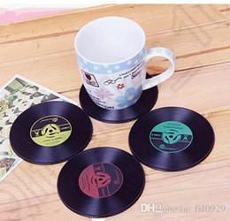 Wholesale Tea Vinyl - 1000pcs Drinks Retro CD Vinyl Record Coffe Tea Drinking Coasters Anti-Heat Cup Mat Novelty Gift free shipping
