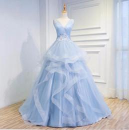Wholesale Deep V Neck Pageant Dress - Elegant Sweep Train Prom Dresses Deep V-Neck 2017 Corset Back Portrait Women Pageant Party Dress Lace Appliques Formal Evening Gown Vestidos