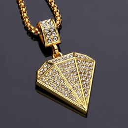 Wholesale Hiphop Diamond Jewelry - Diamond Shape Pendant Necklace Hiphop Jewelry Rhinestone Crytal Fashion Trendy Gold Plated Punk Men Women Gift