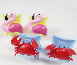 Wholesale inflatable swim set - Kids Inflatable arm band cartoon swimming armlet flamingo Crab Baby swim rings safty assistive tools 10 p l