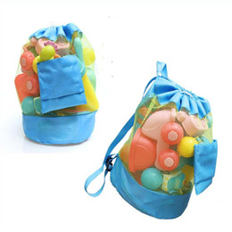 Wholesale Pouches Net Bags - Kids Beach Toys Receive Bag Folding Mesh Sandboxes Away All Sand Child Sandpit Storage Shell Net Sand Away Beach Mesh Pouch Backpack LC536