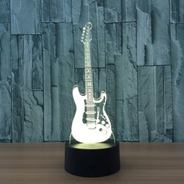Wholesale Usb Lampe - Wholesale- Guitar 7 Color Lamp 3D Led Night Lights for Kids Touch USB Table Lampara Lampe Baby Sleeping Nightlight Usb Led Light Lamp