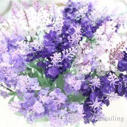 Wholesale Lavender Artificial Flower - Lavender bush 10 flower heads bridal bouquets artificial silk flowers for wedding party centerpieces wreath garland home decoration