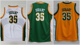Wholesale Color White Jersey Basketball - Men Throwback Seattle Supersonics Jerseys 35 Kevin Durant Jersey Super sonics For Sport Fans Color Yellow Green White