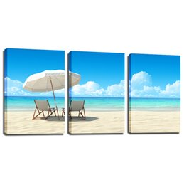 Wholesale sunset canvas paintings - 3 Pieces Canvas Wall Art Beach Pictures Seascape Sunset Landscape Paintings on Canvas for Living Room Home Decorations