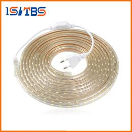 Wholesale Led Strips 25m Ip65 - Upgrad copper wire 220V SMD 5050 LED Strip Light 5m - 25M IP65 Waterproof led tape outdoor lighting Decor lamp + EU plug Adapter