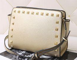 Wholesale Pink Bats - Top 2017 New women star models with cross pattern PU leather handbags and small rivet smiley bat bag shoulder bag Messenger bag
