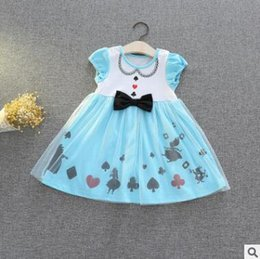 Wholesale Girls Crown Dress - Cartoon Princess Party Lace Dress Poker Alice Crown TUTU Dress Girl Cartoon Lace Bow Birthday Party Dresses Baby Cotton Tulle Dress 682