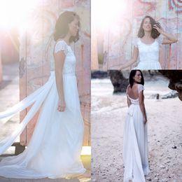 41a70e15e17 Casual Beach Wedding Dress Short Sleeves Backless Chiffon Boho Bohemian Wedding  Dresses Bride Gowns Vestido De Noiva Praia
