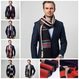 Wholesale Scarf Ring For Men - 180*30 cm Winter cashmere wool scarves for mens fashion brand designer plaid Shawl Business Casual Scarves YYA448