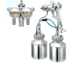 Wholesale Dual Heads Spray Gun - Original quality Silvering mirror spraying gun with bottle cup dual head spray gun for chrome and nano painting free DHL