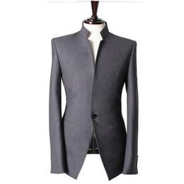 Wholesale Mandarin Suits - Mandarin collar Gentlemen men suits jacket Handmade Wedding groom tuxedos vest Men Custom Made Men Suit Jacket