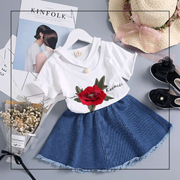 Wholesale Teens Suits - Elegant Girls Denim Skirts Sets Kids Big Rose Flower Tops Toddler Casual Suits Summer Teens Girl Tassel Skirt V Neck T Shirts