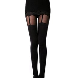 Wholesale Decorated Leggings - Wholesale- NO.1 Fashion Stretchy Stockings Sexy Black Leggings Decorated Garters 695Z