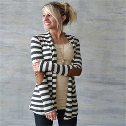 Wholesale leather computer sleeve - Wholesale-Black and White Striped Elbow Patching PU Leather Long Sleeve Knitted Cardigan Slim Loose Sweater Outwear XY3045